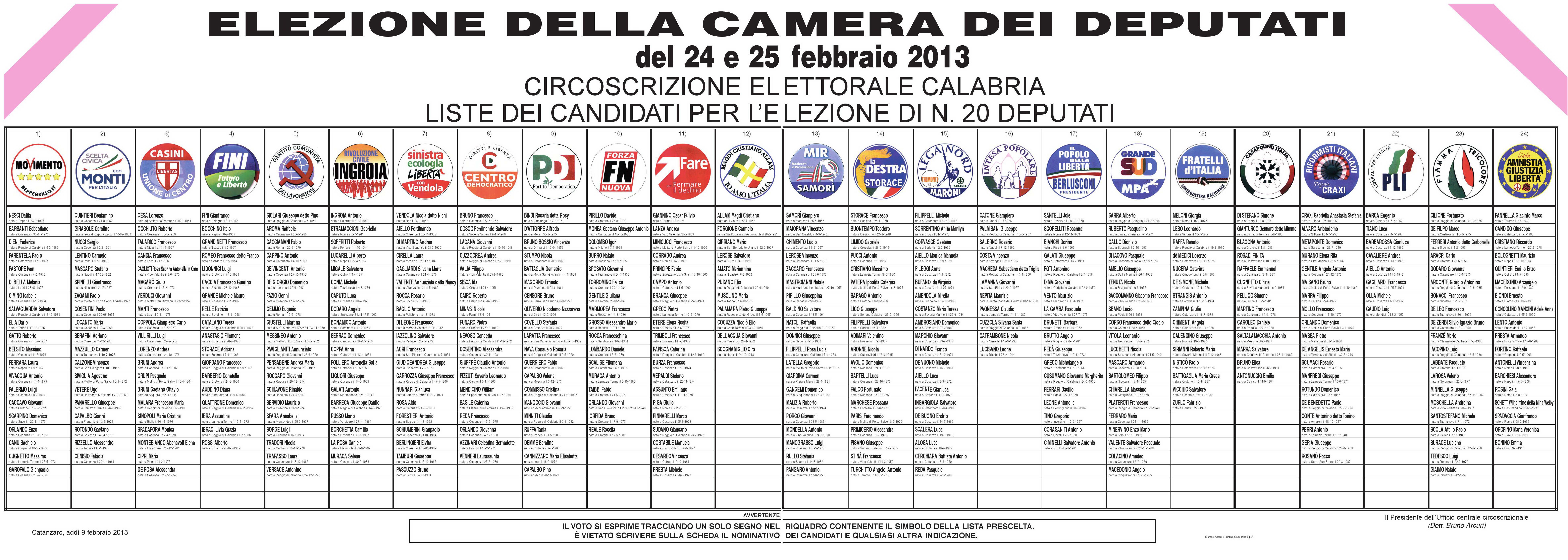 Elezioni 2013 manifesto liste comune di caulonia for Elezione camera dei deputati